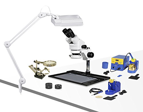 Parco Scientific PA-10EZ-IFR07-SD4 Binocular Stereo Zoom 7x-45x Microscope with Hakko Double Port Solder Station FM-203 and Micro-Soldering Kit FM-2032, Magnifier Lamp, Cell Phone Repair Platform
