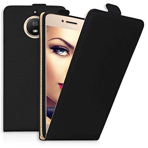 mtb more energy® Flip-Hülle Tasche für Motorola Moto G5S (XT1794, 5.2'') - Schwarz - Kunstleder - Schutz-Tasche Cover Hülle