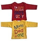 Baby Boys' Cotton T-Shirt Combo of 2 (Red and Yellow, 3-6 Months)
