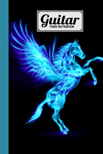 Guitar Tab Notebook: Premium Pegasus Cover Guitar Tab Notebook, Music Paper Notebook, Blank Guitar Tablature Music Note, 120 Pages - Size 6
