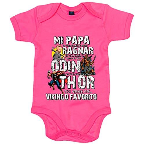 Body bebé papá tu eres mi vikingo favorito - Rosa, 6-12 meses