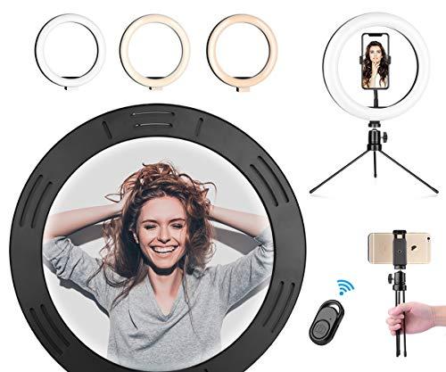 "LED Ring Light 10.2"" with Adjustable Tripod Stand & Shutter, Desk Makeup Selfie Ringlight Phone Holder with 3 Light Modes & 10 Brightness Level for YouTube, Tiktok, Live Stream, Photography"