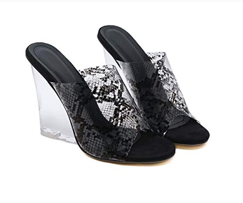 ypyrhh Ladies Eva Toe Post Flip Flop,Transparent snake pattern crystal slope heel slippers, sexy outer wear women's slippers-black_40,Non Slip Beach Indoor House Slippers