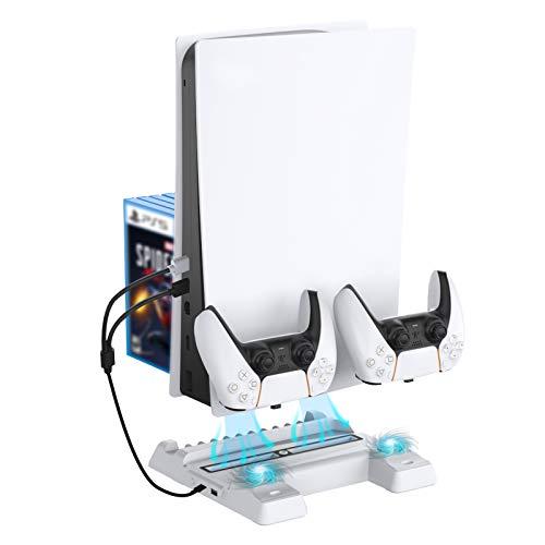 NexiGo Vertikaler Kühlventilator für PS5-Konsole, Dual Controller, Typ-C Ladesteckplätze mit USB-Hub, 3 Stufen verstellbare Lüfter, Drehgeschwindigkeit, 10 Spielboxen