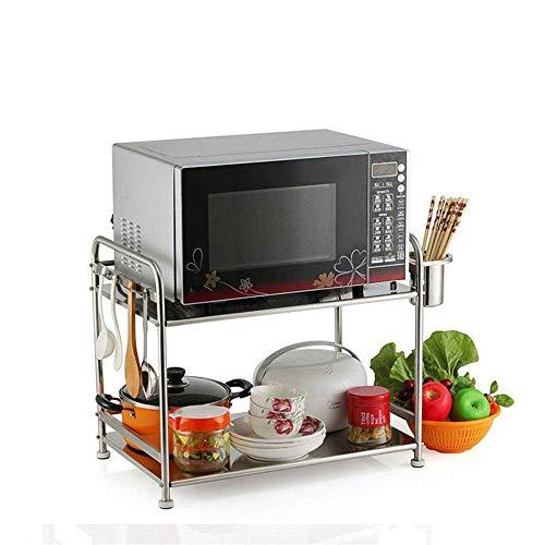 Pyrojewel Contador de cocina de acero inoxidable titular de microondas horno de carro de 2 niveles multifunción cocina organizador del almacenaje de soporte de sobremesa (Color: Plata, Tamaño: 57X37X4