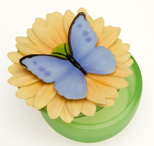 Blue Butterfly on Gerber Daisy Keepsake Glass Box Ibis & Orchid Flower Collection by Ibis & Orchid Design