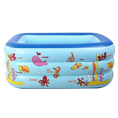 FCH Rectangular Pool Kinder Aufstellpool Planschbecken Höhe frei einstellbar Dreischichtiger aufblasbarer Pool Wasser Babypool-Ozeanballpool der Kinder 130 * 85 * 55 cm