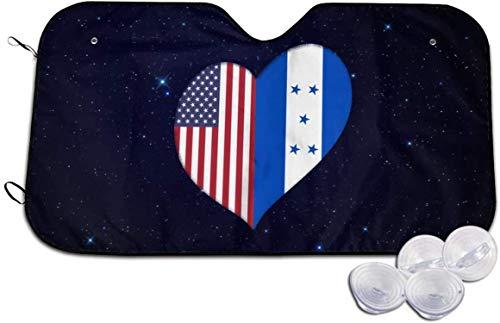 Corazón Honduras Bandera Estadounidense Parabrisas del Coche Sombrilla Visera Plegable para automóviles SUV Camiones Minivans Sombrillas Refresca el Interior del vehículo-Small