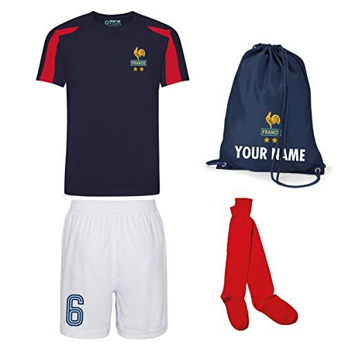 Print Me A Shirt Conjunto de Fútbol de la Selección Francesa Personalizable para Niños, Camiseta, Pantalones Cortos, Calcetines y Bolsa Personalizable, Conjunto de Fútbol de los Azules de Francia