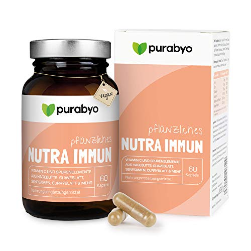 Nutra Immun, for the immune system, organic iron, vitamin C, selenium and zinc in plant matrix, pure plant vitamins and trace elements, vegan, glass bottle instead of plastic.