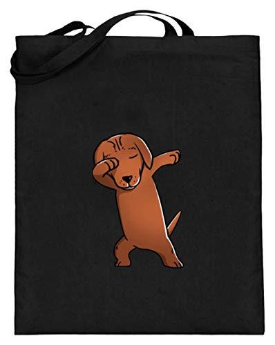 Dabbing Dabbin jachthond hond ras lief eraf - eenvoudig en grappig design - jute zak (met lange hengsels)