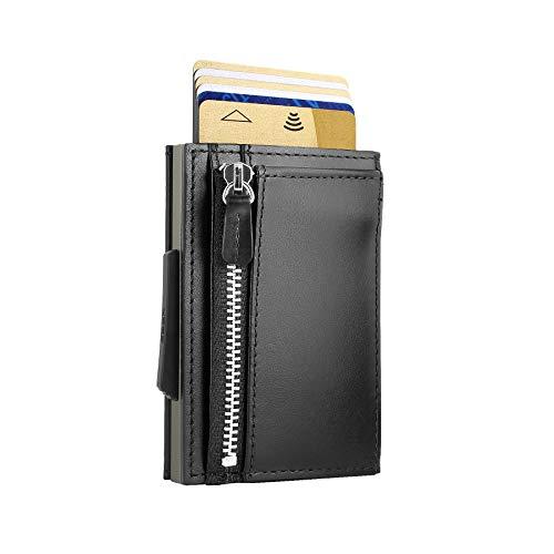 Ögon Smart Wallets - Cascade Slim für Münzen, Automatischer Kartenetui, Popup-Karten, 8 Karten und Banknoten, RFID-Blockierung (Schwarz Alu Titanium)