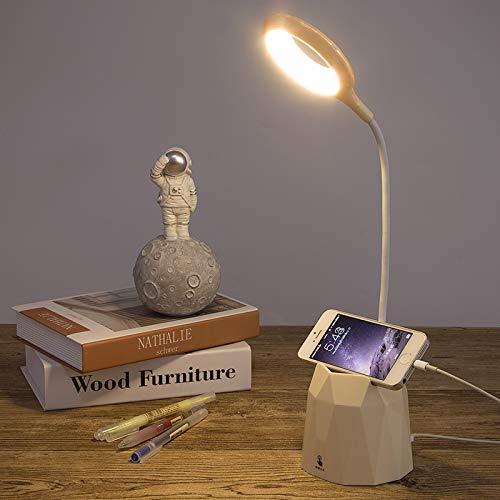 LED Tischlampe Stifthalter Schreibtischlampe wiederaufladbare USB-Leselampe, Berührungssensorschalter, dimmbare Kinderlampe mit Stifthalter, Augenschutz-Nachtlicht, Nachttischlampe(Cremeweiß)