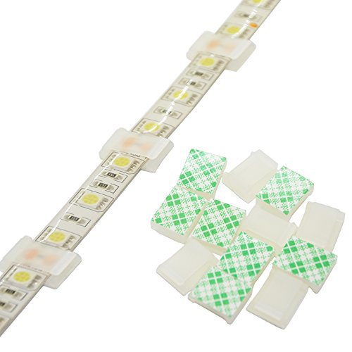 """Strip Light Mounting Clips Self-Adhesive Strip Brackets Holder,100-Pack Clamps Fix Light Strip 8mm 10mm 12mm (for 10mm(3/8"""") Wide Strip Light)"""