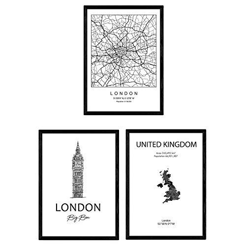 Pak posters en monumentenlanden. Londen Groot-Brittannië Stadskaart en monumenten A. Maat A3