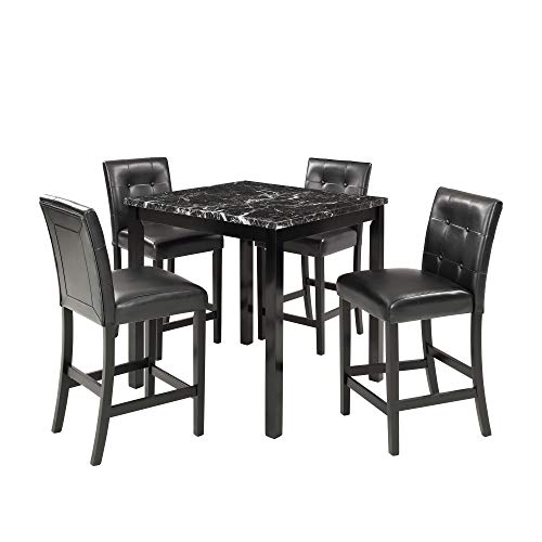 Harper & Bright Designs 5-Piece Kitchen Table Set Black Faux Marble Top Counter Height Dining Table Set with 4 Black Leather-Upholstered Chairs