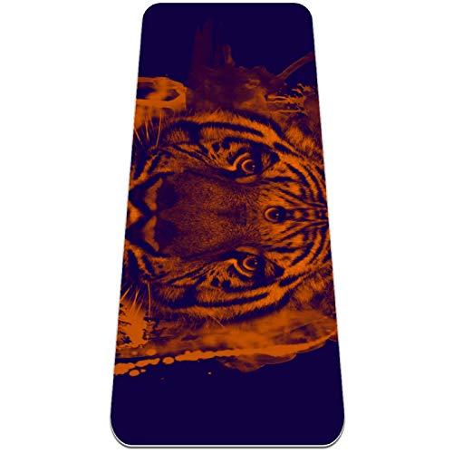 Eslifey Trippy Tiger - Esterilla de yoga gruesa antideslizante para mujeres y niñas (72 x 24 pulgadas, 1/4 pulgadas de grosor)