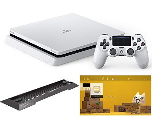 PlayStation 4 グレイシャー・ホワイト 500GB (CUH-2200AB02)【Amazon.co.jp限定】アンサー PS4用縦置きスタンド 付 & オリジナルカスタムテーマ 配信【メーカー生産終了】
