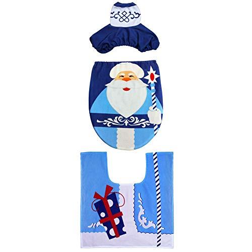 Xiton 3 Piezas Santa Asiento de Inodoro y Conjunto de Alfombra Juegos de baño de Navidad para Decoraciones de...