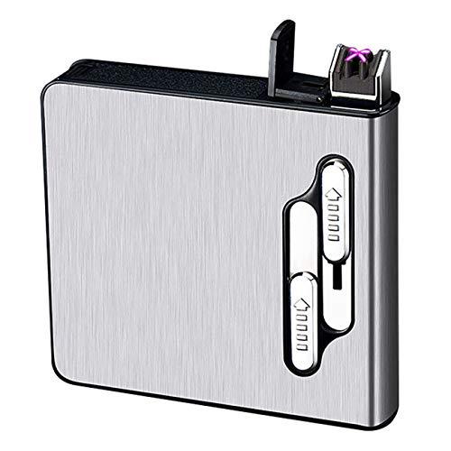 SCYDAO Zigarettenetui mit Feuerzeug, Dual Bogen-Feuerzeug Zigarettenbox, Auto-Auswurf/Auto-Zündung, unterbringen 20 Zigaretten, Elektronisches Feuerzeug Aufladbar,Silber