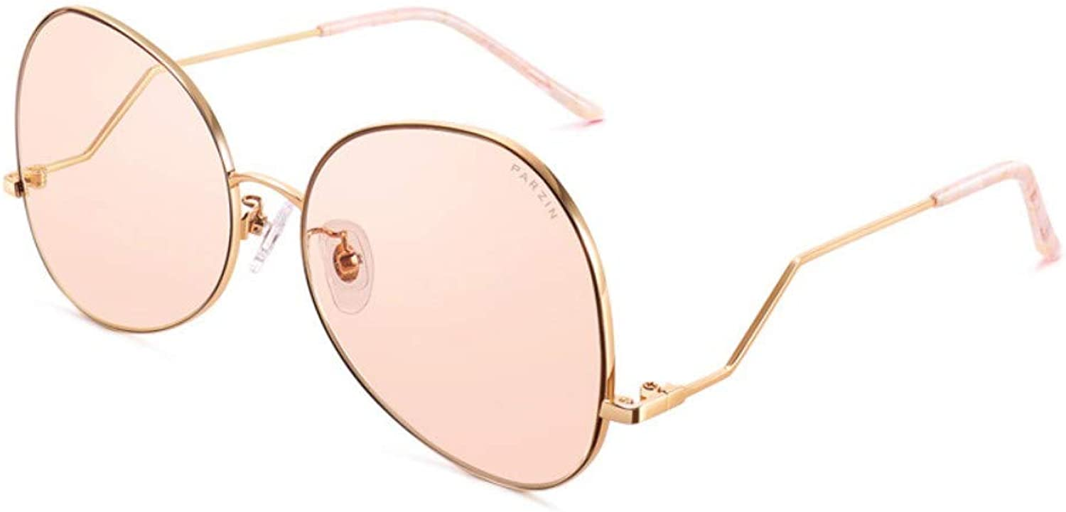 Fashion Sunglasses Ladies Metal Psychedelic colorful Light Nylon Lens Trend Sunglasses gold Frame Reflective Film Translucent