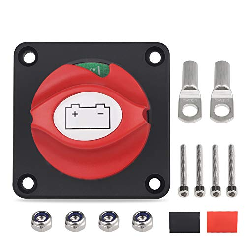 WATERWICH DC 12-48V Battery Disconnect Switch Marine Battery Cut/Shut Off Switch 275/1250 Amp for Ship Boat Small Yacht RV Camper Truck Car Vehicle(with 2 (Battery Switch with 2 Copper Ring Terminal)