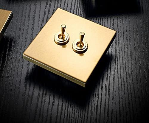 Interruptor de palanca de luz de pared para mejoras del hogar YIJIAO, palanca de latón Vintage, acero inoxidable, champán, dorado, 86, Metal oculto
