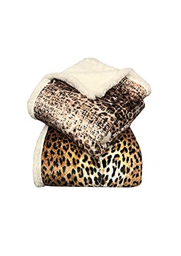 Manta de forro polar + piel de sarga con estampado de leopardo, moteado o pitonado, para cama de matrimonio o individual (pitonada, matrimonial)