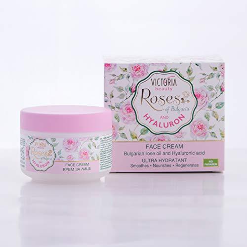 Victoria Beauty – Gesichtscreme mit Rosenöl und Hyaluronsäure gegen Falten und dunkle Augenringe – spendet intensiv Feuchtigkeit und regeneriert die Haut – 50ml