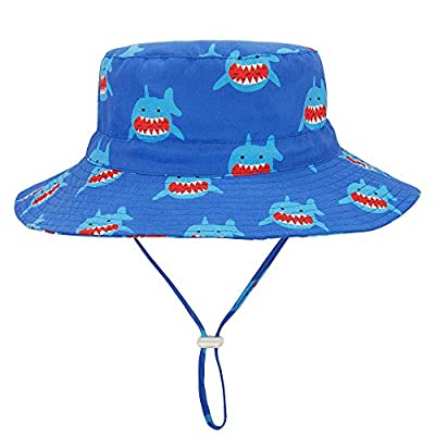 "Durio Gift for Baby Toddler Summer Baby Gifts Beach Sun Hat UPF 50+ Baby Hat Kids Toddler Boy Hat A Blue Shark 20.5""(52cm)/2-4 Years"