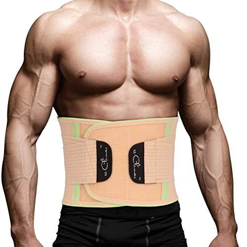 SZ-Climax Lumbar ondersteunt verstelbare dubbele pull-back steun riemen sport of werk gerelateerde pijn rug-taille ondersteuning voor mannen en vrouwen onderrugpijn Brace | Zwart