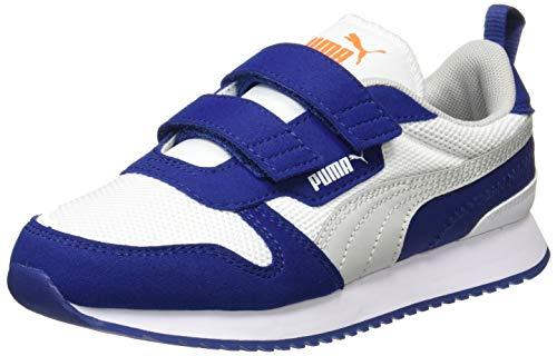 Puma R78 V PS, Zapatillas Unisex niños, Blanco Gris Violeta Elektro Azul, 29/30 EU