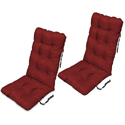 SuperKissen24 Zonnebank zitkussen - 48x123 cm - Zitbedekking voor ligbedden, tuinstoelen, ligstoelen, zitplaatsen - Zitkussens voor buiten/binnen - Waterdicht Set of 2-48x123x7 cm Donker Rood