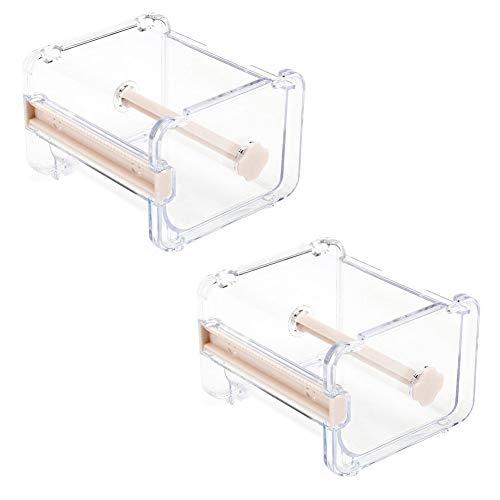 2pcs HomDSim Washi Tape Dispenser Cutter,Roll Tape Holder Organizer,Masking Tape Desktop Tape DIY Sticker Roll Tape Cutter Holder Storage,Washi Tape Box Beige