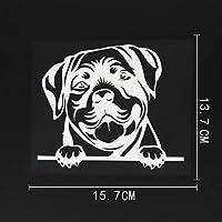 ステッカー剥がし 15.7CMX13.7CM車のステッカーロットワイラー犬チラッと覗くビニールデカールブラック/シルバー ステッカー剥がし (Color Name : Silver)