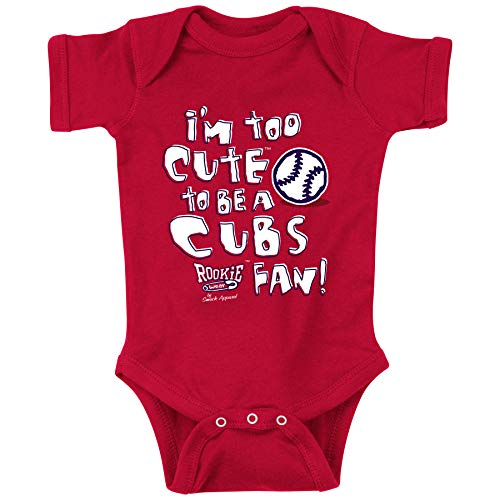 Rookie Wear by Smack Apparel St Louis Baseball Fans. Too Cute to be a Cubs Fan Red Onesie (NB-18M) (Onesie, 18 Month)