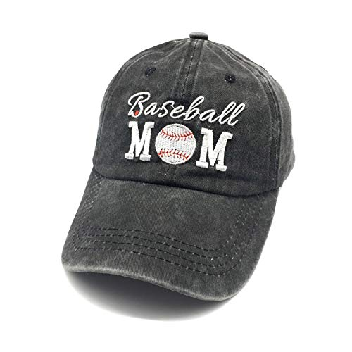 Waldeal Women's Embroidered Baseball Mom Adjustable Low Profile Ballcap Dad Hat Black