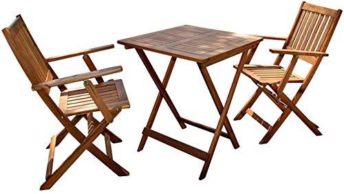 SAM 3-TLG. Balkongruppe Chile, 1 Tisch 62x62 cm + 2 Stühle, klappbar, Akazienholz geölt, Balkonmöbel