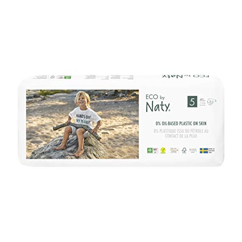 Eco by Naty, Taille 5, 80 couches, 11-25kg, Couche écologique fabriquée à partir de fibres végétales, 0% de plastique (issu du pétrole) au contact de la peau de bébé.