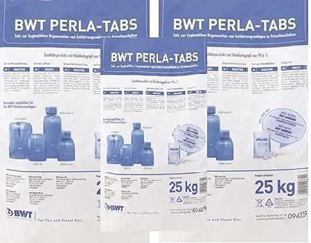 3 er Set BWT PERLA TABS Regeneriersalz 25 Kg von VMS-Vertriebcenter in Kissenform, keine Scheiben, inkl. sanvo Mehrzwecktuch zum reinigen Ihrer Anlage