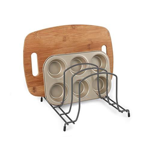 Takyl Home Wire Kitchen Pantry Cabinet Shelf Holder Organizer for Pots, Pans, Cutting Boards, Baking Sheets, Lids, Bakeware, Plate, and Dish Storage Rack Organization, Medium, Dark Gray