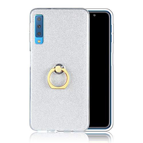 Misstars Hülle für Samsung Galaxy A9 2018 / A9 Star Pro / A9S, Ultra Dünn Transparent Weiche TPU Silikon + Glitzer Weiß Papier Hybrid 2 in 1 Design Bling Schutzhülle mit Ring Ständer