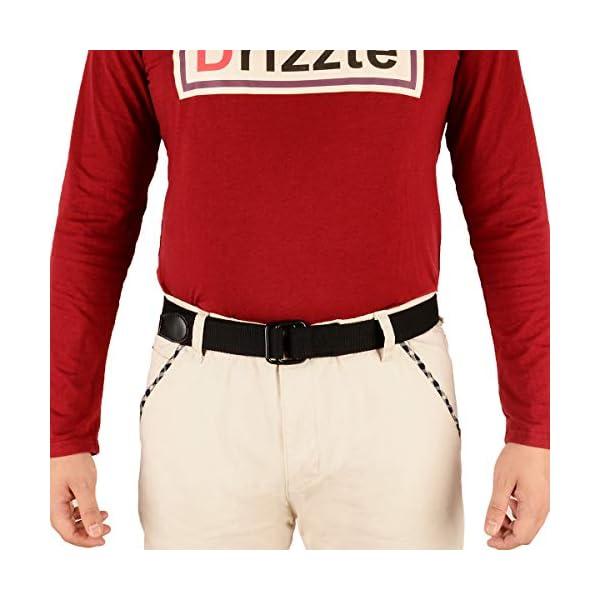 "Drizzte Plus Size 39-75"" Long Double Ring Big Mens Canvas Fabric Cloth Belts Black"