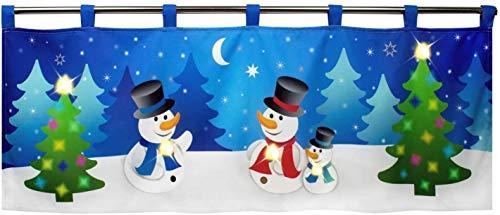 Delindo Lifestyle Tenda per finestre PUPAZZO DI NEVE con LED, adatta a cucina e stanza dei bambini, mezza tendina illuminata, 45x120 cm, tenda moderna trasparente per il Natale