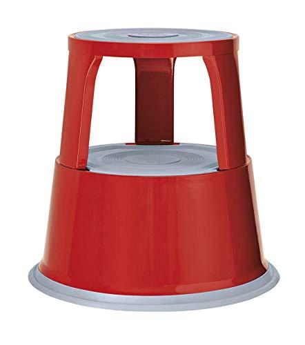 Wedo 212102 Rollhocker Metall, TÜV- und GS-geprüft, Höhe 43 cm, Tragkraft 150 kg, rot
