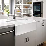 ALWEN 33 inch Fireclay Farmhouse Double Basin Apron-Front Kitchen Sink, White Fireclay Reversible Kitchen Sink with 2 Stainless Steel Grid and 2 Drains
