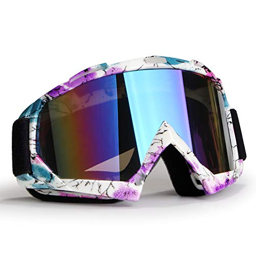 YOHOG Motorcycle Riding Goggles Dirt Bike Goggles Anti UV400 Motocross Goggles Windproof Dustproof Safety Goggles Anti Fog Goggles Racing Goggles Protective Eyewear Girls Goggles with Color Lens(pink)