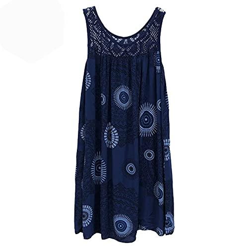 ReooLy Women's Mini Dress Plus Size Lace Bohemian Floral Print Splicing Sleeveless sling beach dress(Navy,XXX-Large)