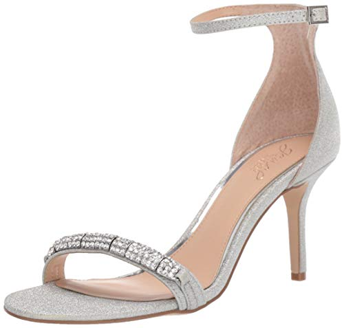 Jewel Badgley Mischka Women's RANDY Sandal, Silver Glitter, 6 M US
