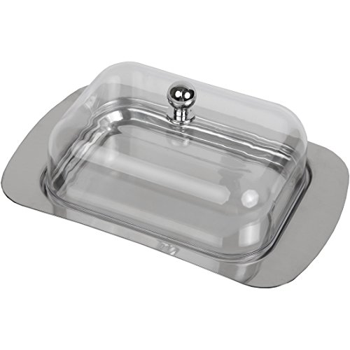 Home-X Butter Dish, The Perfect Addition to Any Kitchen, Stainless Steel (2 Stick Capacity)